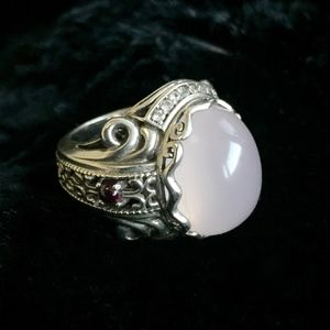 Sterling Silver Rose Quartz Ring with Ruby accents